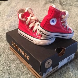 Red High Top Converse toddler 3